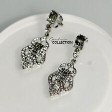 Ohrringe Mode Clip on Silber baumeln Art Deco Braut Weddings J1
