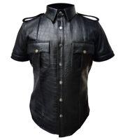 Mens Black Alligator Crocodile LEATHER Police Real Uniform Shirt BLUF Gay Mens