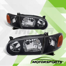 2001 2002 Toyota Corolla Factory Style Black Headlights+Corner Lamps Set