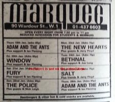 More details for police sting uk timeline advert - marquee 22-jan-1978 4x3 inches