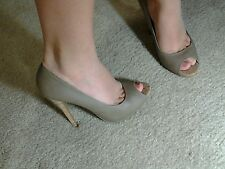 Women's Aldo open toe khaki pumps with cork heel size 37 us 6.5