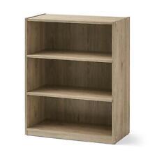 "31"" Tall Wood 3 Shelf Bookcase Closed Back Storage Shelves Bookshelf Rustic Oak"