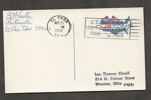 US #UX50, U.S. Customs postal card, U.S. Customs 175th Anniversary cancel.
