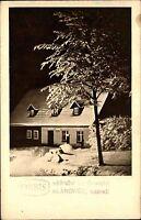 Klánovice Tschechien s/w AK ~1950/60  nádraži Blick auf den Bahnhof im Winter