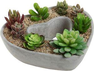 Cut Out Heart Shaped Design Gray Cement Plant Pot Planter / Centerpiece Bowl