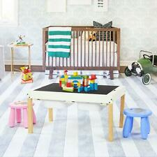 2 In 1 Double Sided Chalkboard Activity Play Table Chairs Set W/ Storage Drawers