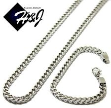 "24""MEN Stainless Steel 6mm Silver Franco Box Cuban Curb Chain Necklace Bracelet"