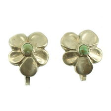 VINTAGE MID CENTURY STERLING GREEN TURQUOISE FLOWER SCREW BACK EARRINGS MEXICO