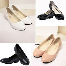 Women Ladies Mid Low Wedge PU Leather Smart Work Pumps Party Court Shoes Size