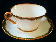 EXQUISITE SPECIAL THEODORE HAVILAND LIMOGES CUP & SAUCER GREEN & GOLD   *MINT