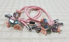 ELASTIC PONYTAIL HOLDER WITH CRYSTALS AND FLOWER CHARM HAIR ACCESSORY PEACH