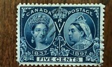 CANADA 1897 QUEEN VICTORIA 'JUBILEE' ISSUE #54- 5 cent DEEP BLUE USED