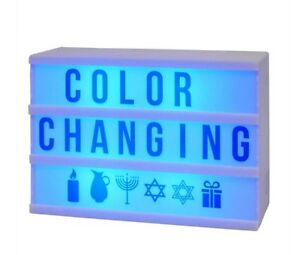 Color-changing Mini LED Light Box USB/Battery Blue Letters Holiday Star of David