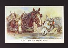 Animals HORSES Artist Florence E. Valter Quick One Used 1952 PPC