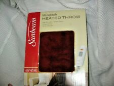 "Sunbeam Electric Heated Microplush Throw 50"" x 60"" BURGUNDY COLOR, NEW IN BOX"