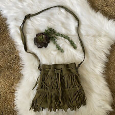 New ListingPatricia Nash Olive Green Suede Leather Fringe Crossbody Bag