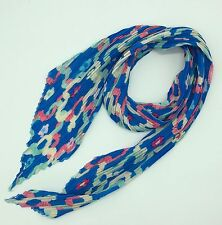 Blue Abstract Print Finely Pleated Scarf New