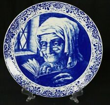 """Delft Boch La Souviere 11 1/4"""" Plate with hanging holes. Old Lady Reading blue"""