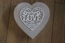 wood heart shaped trinket box ,love filigree design,shabby chic