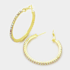 Aurora Borealis diamante Hoop earrings sparkly rhinestone prom gold tone 346-m1
