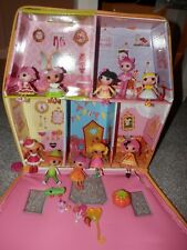 Lalaloopsy Lot 10 minis & carry case peter R pan ,jewels, crumbs,holly,bailey