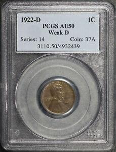 1922-D Weak D Lincoln Wheat Cent PCGS AU-50