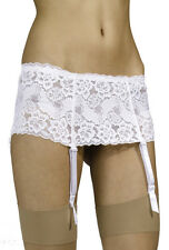 Silky Wide Lace 4 Strap Suspender Belt for Stockings 3 Colors Sizes S - XL White Large