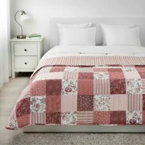 Ikea VÅRRUTA Bedspread Quilt Quilted, White/Pink for Queen/King Bed - NEW
