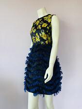 Vestido De Fiesta sportcode Max Mara 12 Oro Floral Azul Efecto De Plumas Glam Flare