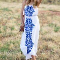 SABINE G Aya Maxi Dress Size XS White Blue Beaded Embroidered Boho