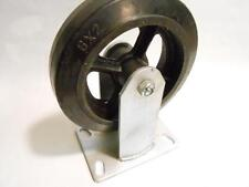 """2 NEW 8"""" x 2"""" Fixed Plate Caster Cast Iron Wheel w/ Rubber Tire 650 LB Capacity"""