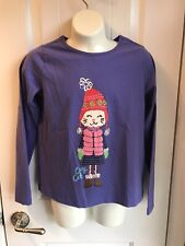 Hanna Andersson Long Sleeve Girls Shirt 150  Cozy Cat