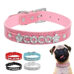 Pu Leather Dog Collar Pet Cat Puppy Collar &Personalised Crystal Names Charms