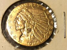 1914D- Indian Head $5 Dollar Half Eagle Gold Coin In Excellent UNC. Condition BU