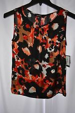 New Nine West Women's Size Small Black Cherry Multi Color Sleeveless Blouse
