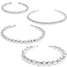 "925 Sterling Silver 5""-7"" Gradual Bead Cuff Bangle Bracelet (Choose Size)"