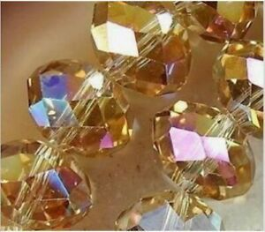 Wholesale Golden Champagne AB Crystal Faceted Abacus Loose Beads 4*6mm 285pcs