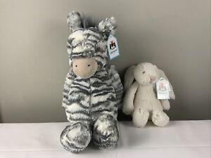 JellyCat Zebra and mini Bunny plush  NWT