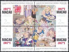 Macao 1996 bebida tradicional casas de té// cafeterías/Gatos/Aves/comida 4 V Negro (n22959)