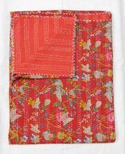 Cotton Handmade Red Queen Size Kantha Quilt Bedspread Indian Decorative Throw