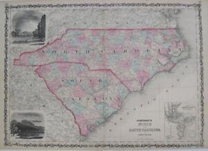 Original 1862 Antique Map JOHNSON'S NORTH & SOUTH CAROLINA Charleston Hand Color