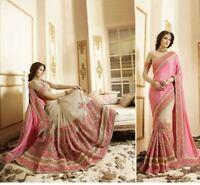 Bollywood Indian Beige Pink Saree Sari Bridal Wedding Pakistani Saree Party Wear