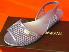 b7e911383898f3 NIB EMPORIO ARMANI SKY BLUE JELLY BEACH FLAT LOGO SANDALS 37 made in ITALY