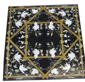 "42"" x 42"" Marble Coffee / Dining Pietra Dura Table Top Inlay Handmade Work"