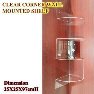 Custom 4 Tier Clear Corner Wall Shelf Display shelves DVD CD Storage Rack