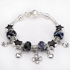 925Sterling Solid Silver European Murano Glass Beads black Charm Bracelet GXB075