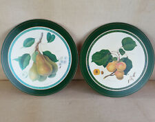 Vintage Retro Green Round Border Placemats with Pear Apricot Fruit Pattern x 2