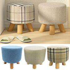 Luxury Chic Wooden Footstool Ottoman Pouffe Stool Foot Rest Padded Seat Bedroom