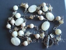 SILPADA RARE Sterling Silver 925 Faceted Mother of Pearl Quartz Necklace N1504 A