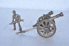 Old Brass Handcrafted Soldier With Gun /Cannon Unique Toy Model , Nice Patina
